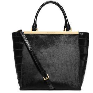 Michael Kors Black Calf Hair Leather Lana Tote